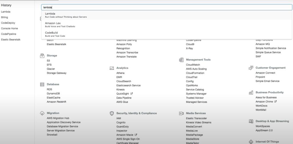 Aws Interface Search Lambda